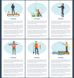 fishing man posters fishery vector image