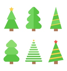 Flat design christmas trees set collection vector