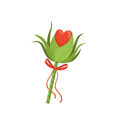 Forest fairy s wand with green leaves red heart vector