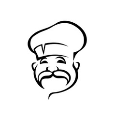 french italian chef black outline vector image