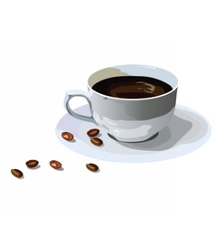 Fresh Coffee cup with beans isolated vector