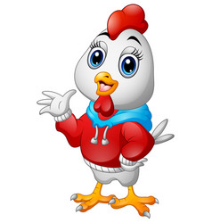 funny cartoon rooster in a red jacket waving vector image