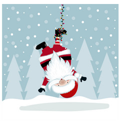 Funny christmas with hanging santa vector