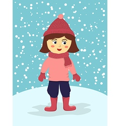 Girl Wear Pink Winter Suit vector