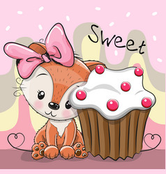 Greeting card cute fox with cake vector