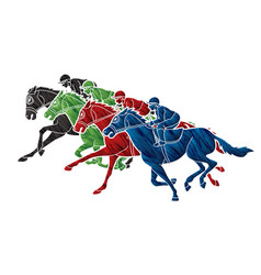 Group jockeys riding horse sport vector