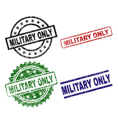 grunge textured military only seal stamps vector image