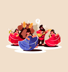 Gypsy ensemble dancing and playing on instruments vector