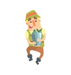 Happy Amateur Fisherman In Khaki Clothes Carrying vector