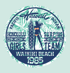 Hawaii surfing girls team vector
