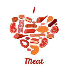 i love meat set bacon ham cartoon style vector image