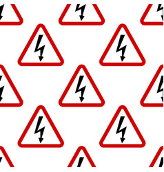 image of high voltage sign repeated in straight vector image