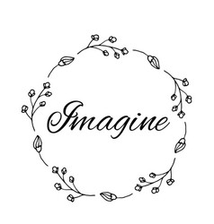 imagine text flower wreath hand drawn laurel vector image
