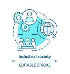 Industrial society blue concept icon mass vector