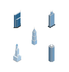 Isometric skyscraper set of cityscape business vector