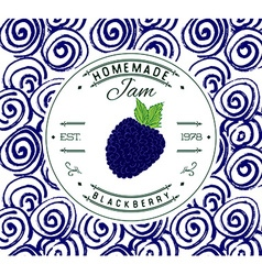Jam label design template for Blackberry dessert vector image
