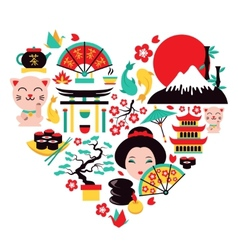 Japan symbols heart vector image