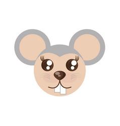 kawaii face mouse animal fun vector image