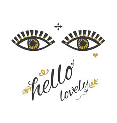 Ladys open eyes looking with golden eyelashes vector