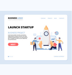 launch startup website landing page vector image