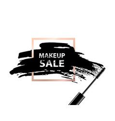 makeup sale banner makeup sale text on dark vector image