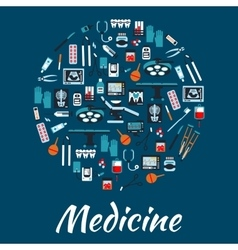 Medical icons and symbols placard vector image vector image