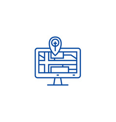 navigation monitor with map line icon concept vector image