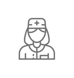 nurse woman medical worker doctor line icon vector image