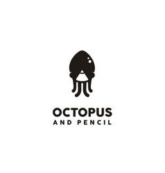 octopus squid cuttlefish jellyfish pen pencil logo vector image