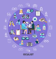 oculist circle symbols composition vector image
