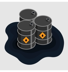 Oil fuel barrels isometric Icon vector image