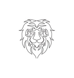 one continuous line drawing king jungle vector image