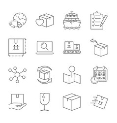 parcel delivery service icon set fast delivery vector image