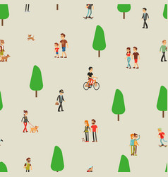 people walking man woman on nature couple and vector image