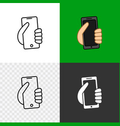 Phone icon for contacts hand holding modern vector