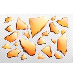 Pieces broken glass realistic set vector
