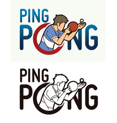 Ping pong or table tennis text with sport player vector