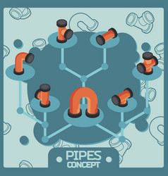 pipes color isometric concept icons vector image