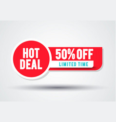 red sale banner hot deal 50 off badge template vector image