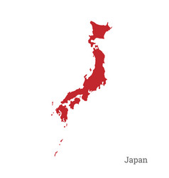 Red silhouette of japan on white background vector