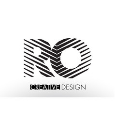 Ro r o lines letter design with creative elegant vector