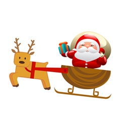 santa with sleigh and deer vector image