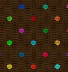 seamless knitted pattern with polka dot vector image