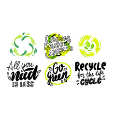 set of environmental labels recyclable triangle vector image