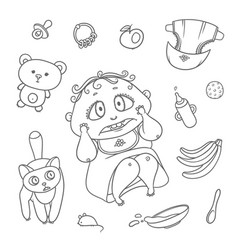 Set scared child and cat hygiene items vector