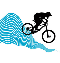 silhouette of a cyclist riding a mountain bike vector image