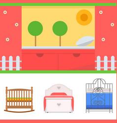 Sleeping furniture design bedroom exclusive vector