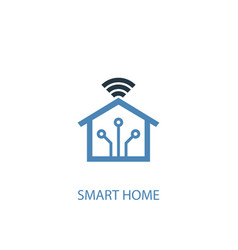 Smart home concept 2 colored icon simple blue vector