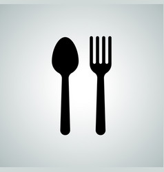 spoon fork cutlery flat silhouette icon vector image