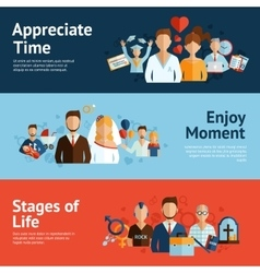 Stages of life concept banners set vector